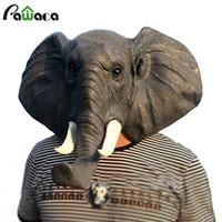 traje de elefante adulto completo venda por atacado-Adulto Rosto Cheio Máscara Animal Látex Costume Partido Elefante Coruja Alpaca Máscara de Cabeça de Pombo Máscara de Halloween Lanterna de Abóbora Cosplay