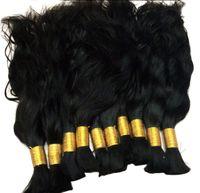 Wholesale virgin hair for braiding - Natural Wave 100% Virgin Human Hair Bulk #1B Straight Hair Bulk for Braiding Cabelo Humano Natural Virgin Remy Loose Hair