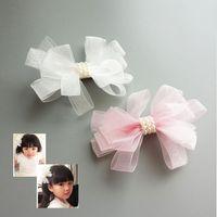 ingrosso clip di capelli della ragazza di fiore bianco-Creativo White Ribbon Pearl Accessori per capelli Corea Princess Hair Clips Ragazze Fiori Archi Ornamenti Tornante Kids Head Headwear