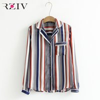 Wholesale Loose Shirts - RZIV 2018 summer women's shirt casual color striped loose shirt