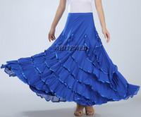 Wholesale ballroom skirt long - Happy Dance Flamenco Folklorico Practice Dancers Costumes Skirts Long Full Circle Knit Flamenco Ballroom Latin Dance Skirt Costume Cheap