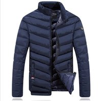 chaqueta de plumas al por mayor-Diseñador de la marca-Winter Down Jacket Hombres New Brand Men Stand Collar hecho de pluma de ganso Thick Coat Parkas de los hombres Parkwear chaqueta térmica