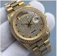 ingrosso giorno delle donne calde-Hot Nuovi diamanti Orologi da uomo in oro Orologi quadrante in acciaio con diamanti A Ladies Womens Ladies Automatic Iced Out Day Date Coppie Orologi da polso