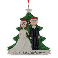 renk değiştiren fiber optik lamba toptan satış-Toptan Çift Tatil Parti Home Decor için Çam Ağacı kullanarak Bizim İlk Noel Reçine Glitter Ağacı Süsler Kişiselleştirilmiş Hediye