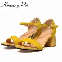 topuk parmak ayak bileği toptan satış-Peep toe hakiki deri Avrupa tasarımcı kalın yüksek topuklu sandalet kadın el yapımı ofis bayan ayak bileği kayışı ayakkabı L27