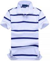 atlar gömlek moda toptan satış-Rahat Yeni POLO Gömlek Erkekler Pamuk Moda Renk çizgili camisa polos Küçük At Baskı masculina de marca Yaz Casual Gömlek Beyaz