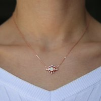 Wholesale sterling silver moon pendant resale online - opal moon necklace rose gold plated sterling silver delicate chain european minimal delicate pendant chain opal jewelry