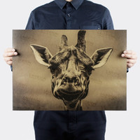 dekorative vintage aufkleber großhandel-Vintage giraffe tier Retro Poster dekorative malerei kraftpapier wandaufkleber poster cafe bar drucken bild 51x35,5 cm