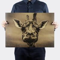 dekoratif vintage etiketler toptan satış-Vintage zürafa hayvan Retro Posteri dekoratif boyama kraft kağıt kağıt duvar sticker posterler cafe bar baskı resim 51x35.5 cm