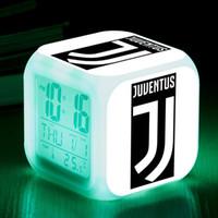 игровые будильники оптовых-Italy Football Club Waker Up Light LED Alarm Clock Kids Toys reloj despertador infantil 7 Color Flash Watch Clocks Desk lamps