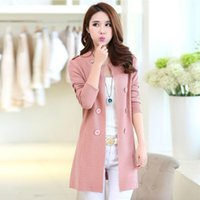 Wholesale Cardigan Sweater Brown - Autumn Spring Women Sweater Cardigans Casual Warm Long Sleeve Design Female Knitted Coat Cardigan Sweater Black M-3XL