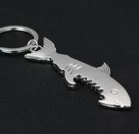 ingrosso apri di birra dello squalo-Fashion 2 in 1Creative Fish Keychain Beer Opener Portachiavi Può Openers Shark Shape Bottle Opener 600pcs