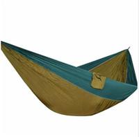 парашютная ткань для гамаков оптовых-Легкий супер большой парашютный гамак 210T Нейлоновая ткань Висячий хамак для наружного кемпинга Берег пляжа выживания 320 * 200 см