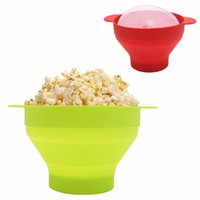 silikon schüssel deckel großhandel-Baby Fütterung Popcorn Schalen Silikon Schüssel Mikrowelle Popcorn Popper faltbare Silikon Schüssel Bpa frei mit Deckel und Griffen