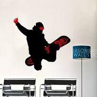 Wholesale tile mural stickers - rt wall sticker Cool Skateboard Snowboard Sports Man Art Wall Sticker Decals Mural Wallpaper Vinyl Boys Room 60x65cm Home Decoration Chri...