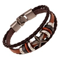 Wholesale vintage leather bracelets - vintage Bracelets Men Fashion Black Genuine Leather Braided SKULL Charm Bracelets Bangles Jewelry Male Multilayer Hand Rope Cheap Pulseira D