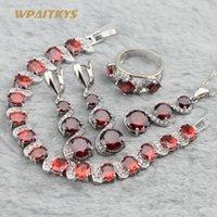 Wholesale Purple Garnet Silver Earrings - Garnet Red Women Wedding Jewelry Sets - Wholesale Round AAA Zircon Silver Plated Necklace Earrings Ring Bracelet For Women Rings Size 6-10