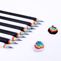 kurşun kalem eko toptan satış-Gökkuşağı Renk Kalem Güvenlik Eko Dostu Ahşap Kalemler Çocuk Kırtasiye Ofis Malzemeleri Için Beyaz Siyah Sıcak Satış 1 8ng B