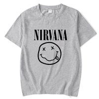 ingrosso camicie nirvana-2018 New Brand Nirvana Music Rock T-shirt con stampa Smile Face Funny Maglietta Top Man Tee Casual T-Shirt Manica corta Hiphop Top