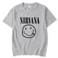 gülümseme yüz tişört toptan satış-2018 Yeni Marka Nirvana Müzik Kaya Baskı T-shirt Gülümseme Yüz Komik T Gömlek Üst Adam Tee Rahat T-Shirt Kısa Kollu Hiphop Üst