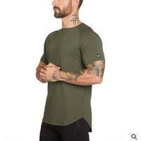 vücut geliştirme spor kıyafetleri toptan satış-Erkek Yaz spor salonları Egzersiz Spor T-shirt Yüksek Kaliteli Vücut Geliştirme Tişörtleri O-Boyun Kısa kollu pamuklu Tee Erkek için giyim