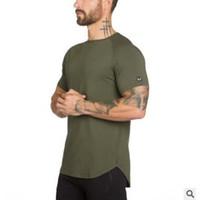 ropa de calidad de fitness al por mayor-Manga corta para hombre de gimnasios Fitness Workout verano camiseta de culturismo de Alta Calidad camisetas O-cuello camiseta de algodón Tops Ropa para Hombre