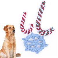 köpek köpekleri toptan satış-Pet Örgülü Kamışı Dümen Pamuk Halat Köpek Chew Hayvan Yavru Köpek Bite Chew Eğitim Interaktif Oyun Oyuncak Noel Crutch Oyuncaklar Xmas AAA644