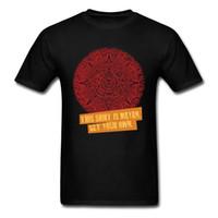 maya rojo al por mayor-Patrón de diseño maya único de los hombres negro rojo amarillo letra t camisa masculina camiseta de algodón puro tops fitness bf camisetas de regalo