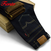 Wholesale men jeans thickening - Men Warm Velvet Jeans High Quality Autumn Winter Jeans Casual Flocking Soft Men Thickening Activities fear of god A2031