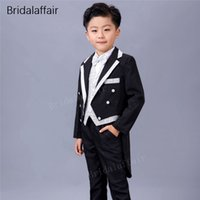 смокинг хвост оптовых-KUSON Fashion Wedding Suits for Boy Dress Suit Boys Formal Suit Tailcoat Kid Tuxedo Black Boy 3Pcs 2018 (Jacket+Pants+Vest)
