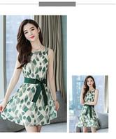 Wholesale long line skirt pattern - Chiffon dress women's 2018 summer new style long printed waist round neck sleeveless vest a word skirt