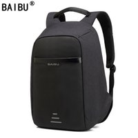 Wholesale anti theft laptop online - BAIBU Men Backpack Anti theft multifunctional Oxford Casual Laptop Backpack With USB Charge Waterproof Travel Bag Computer Bag