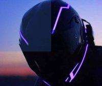 tira de luz led para motos. al por mayor-Casco de la motocicleta Franja de luz LED Casco de la motocicleta Luz de señal nocturna Raya luminosa Modificado Bar brillante