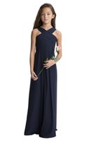 Wholesale flowers girl wedding dress spaghetti straps online - Beauty Navy Blue Chiffon Straps Ruffles Flower Girl Dresses Girls Pageant Dresses Birthday Holidays Dresses Custom Size FF727066