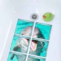 adesivo de parede do banheiro golfinho venda por atacado-3d adesivos de parede 3d golfinhos banheira criativa adesivos de renovação do banheiro piso à prova d 'água de transporte da gota 2018f6