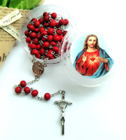 Wholesale catholic rosary beads - Religious Jewelry Red Aroma Wood Bead Catholic Prayer Beads Crucifix Cross Pendant Rosary Necklace Christmas Easter Gifts