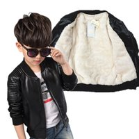 ingrosso giacca di pile di neonato-New Baby Leather Boy Jacket Giacca in pile da bambino Cappotti Manteau Garcon Kids Jacket