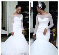 westliche kleider für frauen groihandel-African Black Women Einfache Meerjungfrau Hochzeitskleid Langarm Günstige Church Garden Western Formale Brautkleid Plus Größe Nach Maß
