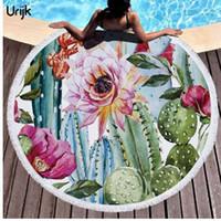 Wholesale flamingo towels resale online - Urijk PC Cactus Flower Print Bath Towel for Adults Mrcrofiber Round Beach Towel with Tassels Tropical Flamingo Blanket Picnic