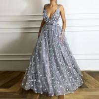 вечернее платье ручной работы аппликация оптовых-3D цветочные аппликация ручной работы цветок длинные платья выпускного вечера сексуальный глубокий V-образным вырезом платье длиной до пола молния назад тюль мода женщины вечернее платье