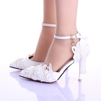 Discount pointed ballet pumps - New White beautiful Vogue Wedding Shoes lace Pearl Beads 9CM High Heels Wedding Bridal Shoes Stiletto Heel Bridal Accessories Pumps