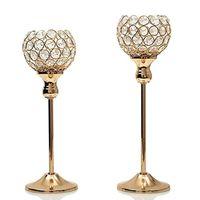 candelabros para bodas de plata al por mayor-Candelabros de cristal de plata de oro de la vela de la mesa de centro del hotel candelabros del mosaico fijado para el banquete de boda del cumpleaños de la acción de gracias WX9-318