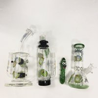 Wholesale green barrels - Rick And Morty Bongs Honeycomb Oil Dab Rigs Barrel Perc Bottle Bong 9 Inch Glass Water Bongs Pipe With Banger Green Water Pipes