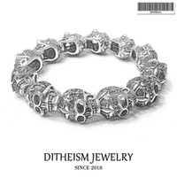 neues jungen silber armband großhandel-Strang-Armbänder mit Fleur-de-lis Schädel Perlen 2018 Neue geschwärztem Silber Fashion Jewelry Punk Geschenk für Männer Junge Frauen Mädchen