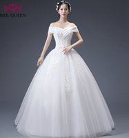 Wholesale Bateau Neckline Lace Wedding Dress - ISER QUEEN Cascading Ruffles Neckline Fashion Princess Wedding Dresses Cap Sleeve Off Shoulder Embroidery Beads A line Wedding Gown WX0068
