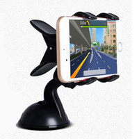 Wholesale Car Phone Holder Galaxy S4 - Auto Car Windshield Dual Clip Mount 360 Degrees Mobile Phone Holder Stand Bracket For iPhone4S 5S 6 6Plus Samsung Galaxy S4 S5