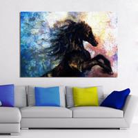 tier-ölgemälde poster großhandel-1 Stücke Wand Leinwand Kunst Wohnkultur Tier Ölgemälde Für Wohnzimmer Kein Rahmen Poster und Drucke Black Horse