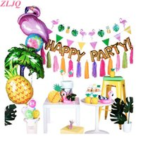 foto toppers groihandel-ZLJQ Ananas Cup Flamingo Ballon Kuchen Topper Photo Booth Requisiten Sommer Hawaii Banner Baby Shower Geburtstag Party Dekoration