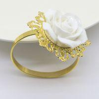 ingrosso rose di tovaglia-10 pz / lotto SHSEJA Nuovo portatovagliolo resina rose tovaglioli bocca anello di stoffa forniture alberghiere tovaglioli tovagliolo tavolo decorazione della casa