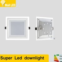 panel de luz led superficie de cristal al por mayor-Superficie del borde de vidrio Montado Panel de luz LED 6w 9w 12w 18w 24w Lámpara de techo LED cuadrada Luces LED Downlight AC85-265V iluminación